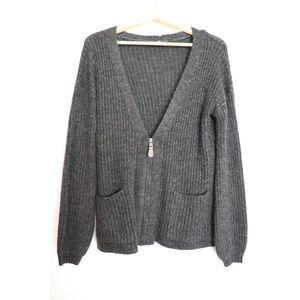 Gray half-zip cardigan